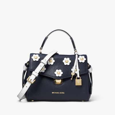 MICHAEL Michael Kors Bristol Small Floral Applique Leather Satchel Navy Blue - 09.11.18