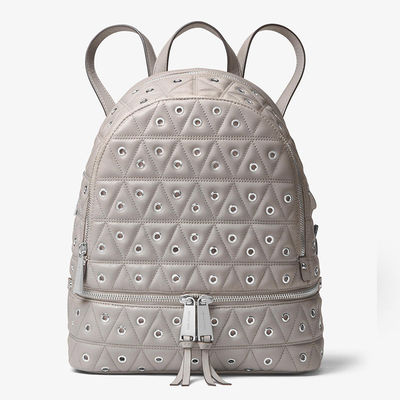 MICHAEL Michael Kors Rhea Grommeted Leather Backpack Grey - 11.10.18